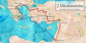 Karte der zweite Missonsreise